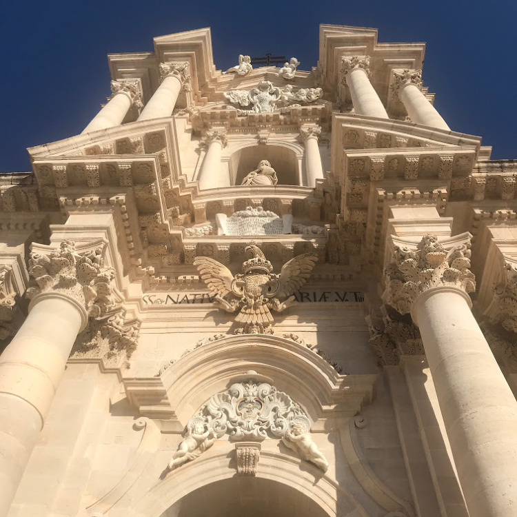 Cathedral of Syracuse in Ortigia Sicily with David and Angela Solomon of travel blog Seen by Solomon