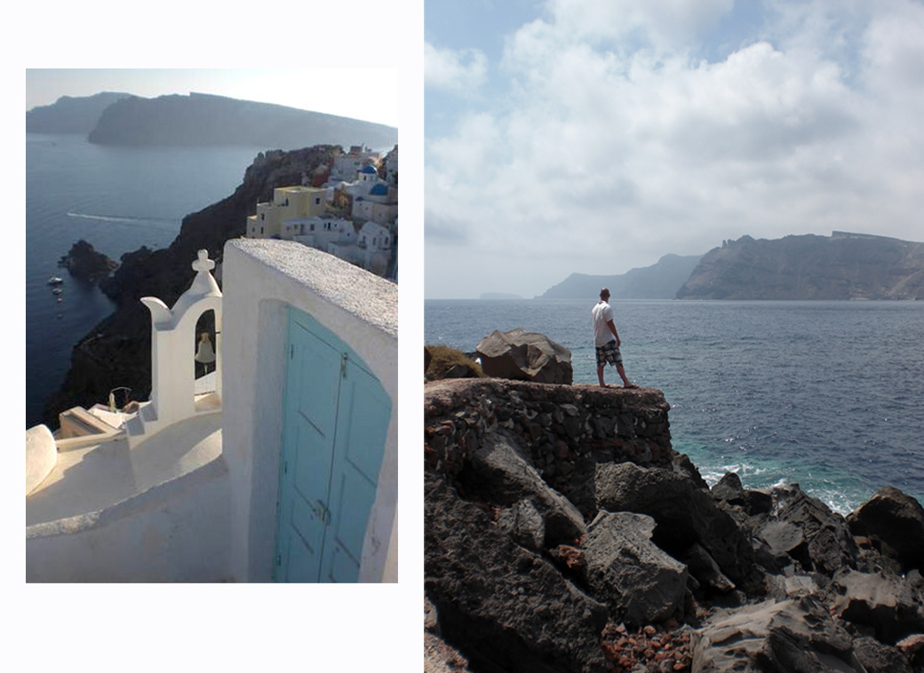 more heavenly doorways in Santorini Greece Oia with David viewing the volcanic landscape with Seen by Solomon travel blog
