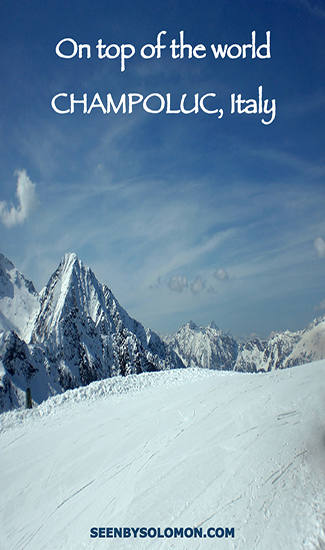 Champoluc skiing in Italy with Seen by Solomon travel blog Pinterest pin