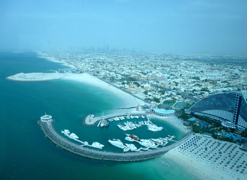 view from afternoon tea at the Burj Al Arab Sky View Bar Dubai UAE with Seen by Solomon travel blog