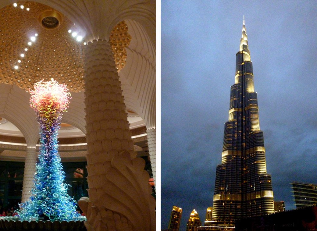 Burj Khalifa at night near Dubai Mall and Venetian glass tower in reception Atlantis Palm Dubai UAE with Seen by Solomon travel blog