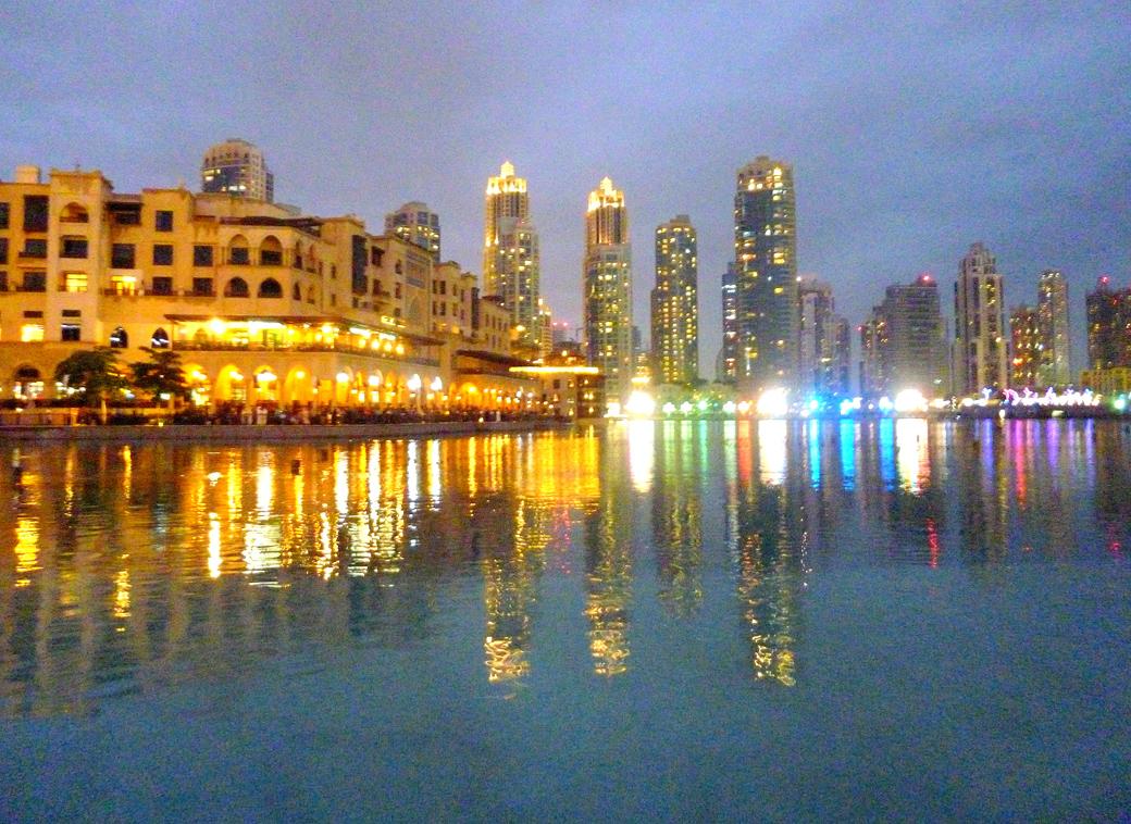 Dubai Mall and Burj Khalifa manmade lagoon with water fountain display Dubai UAE with Seen by Solomon travel blog