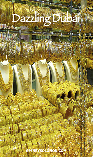Gold souk Dubai with Seen by Solomon travel blog Pinterest pin