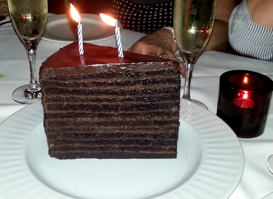 food tips for Seen by Solomon travel blog at The Strip Steakhouse, New York's East Village, 24 layer chocolate cake
