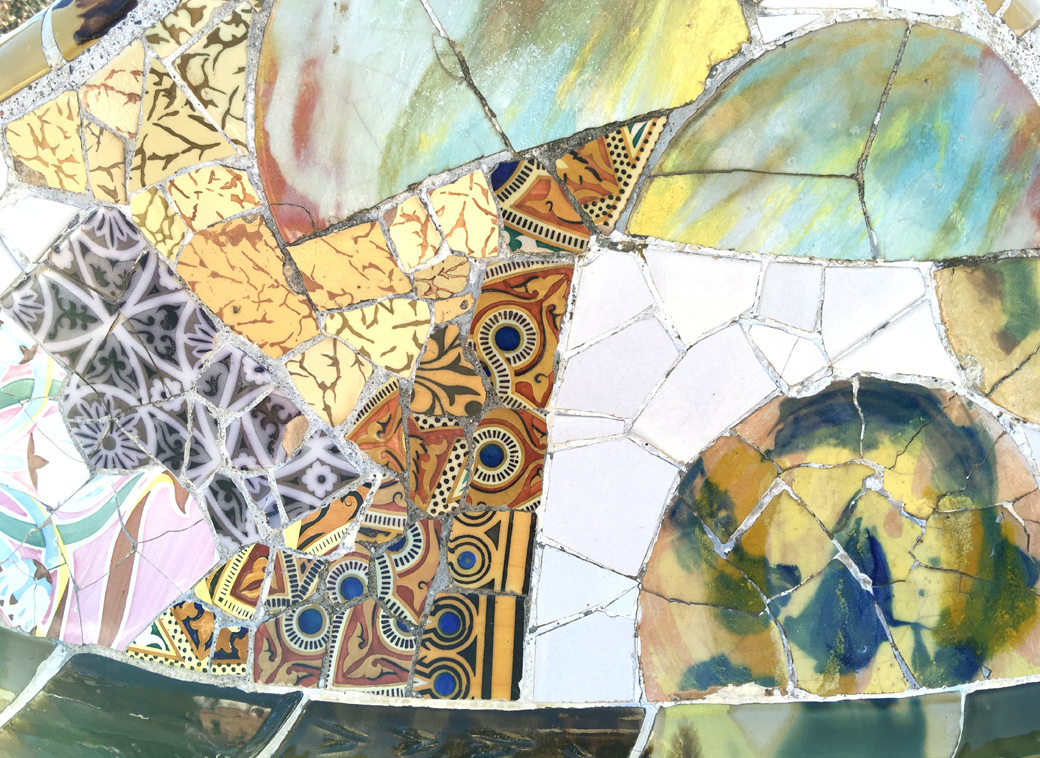 details of Park Guell, Barcelona, Spain, Gaudi mosaics with Seen by Solomon travel blog