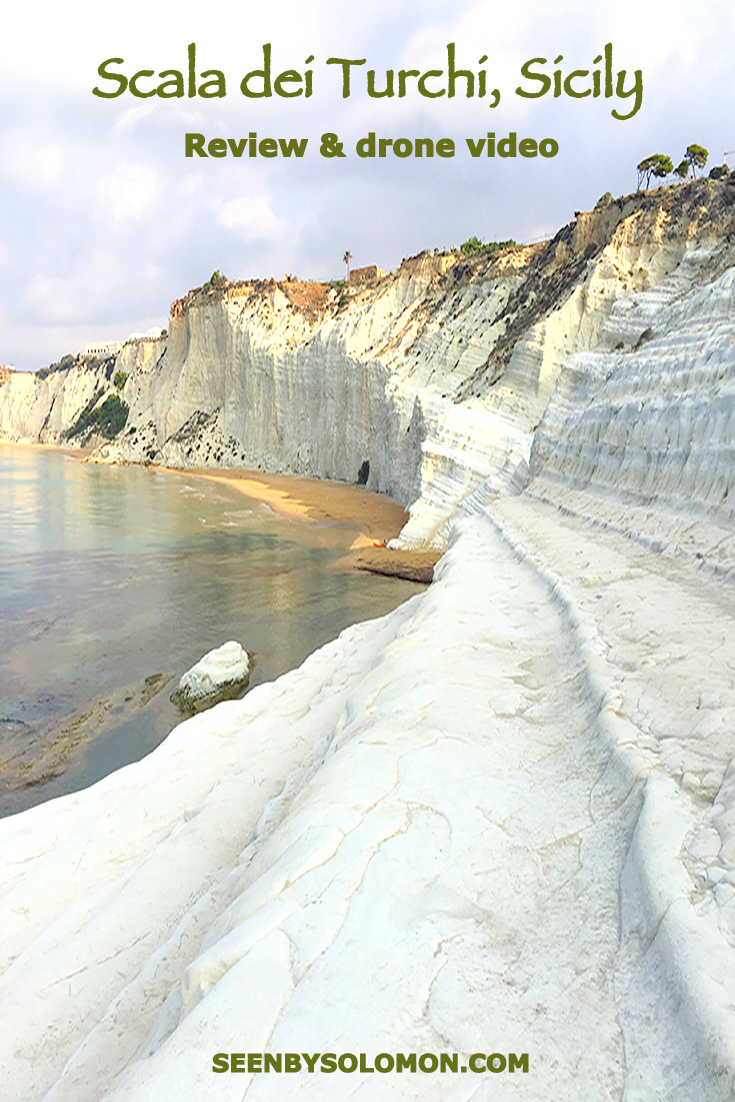 Scala dei Turchi, Sicily with Seen by Solomon travel blog . Pinterest pin
