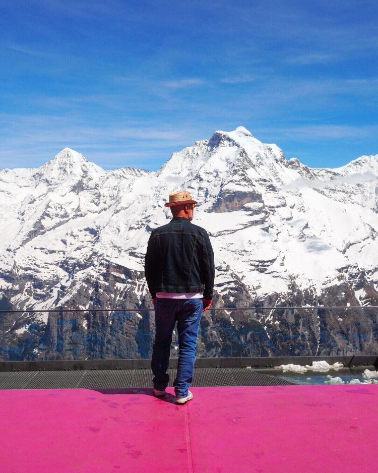 Schilthorn Switzerland Piz Gloria with David and Angela Solomon of travel blog Seen by Solomon