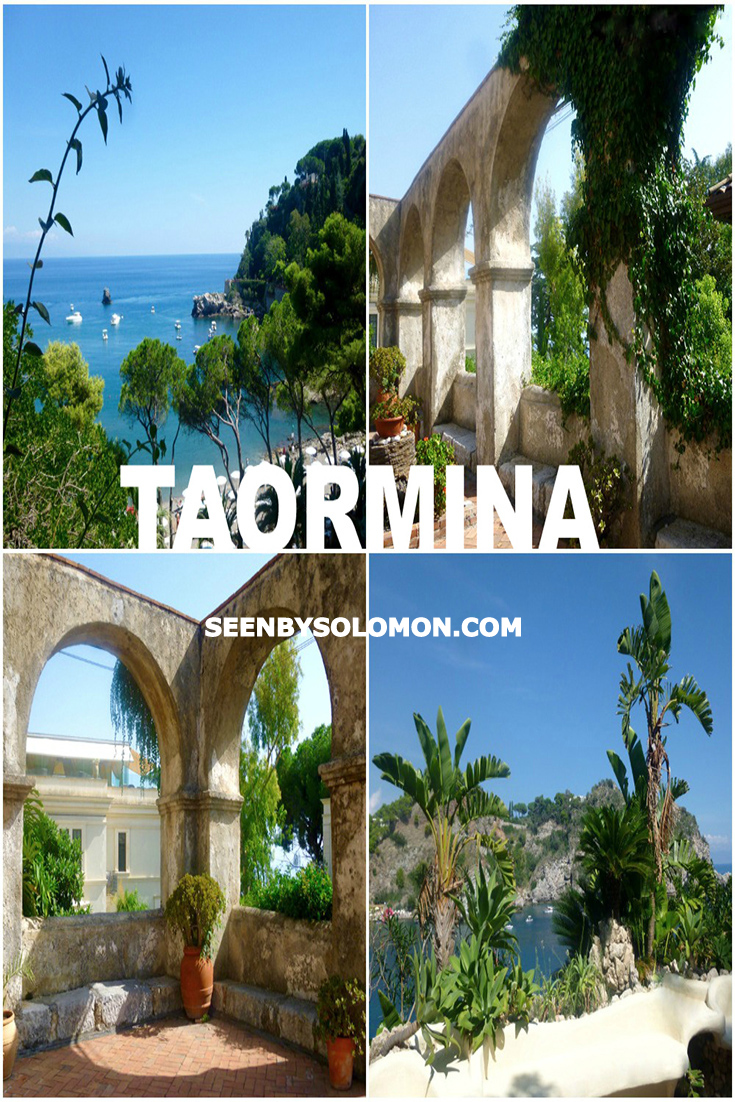Taormina, Sicily with Seen by Solomon travel blog Pinterest pin