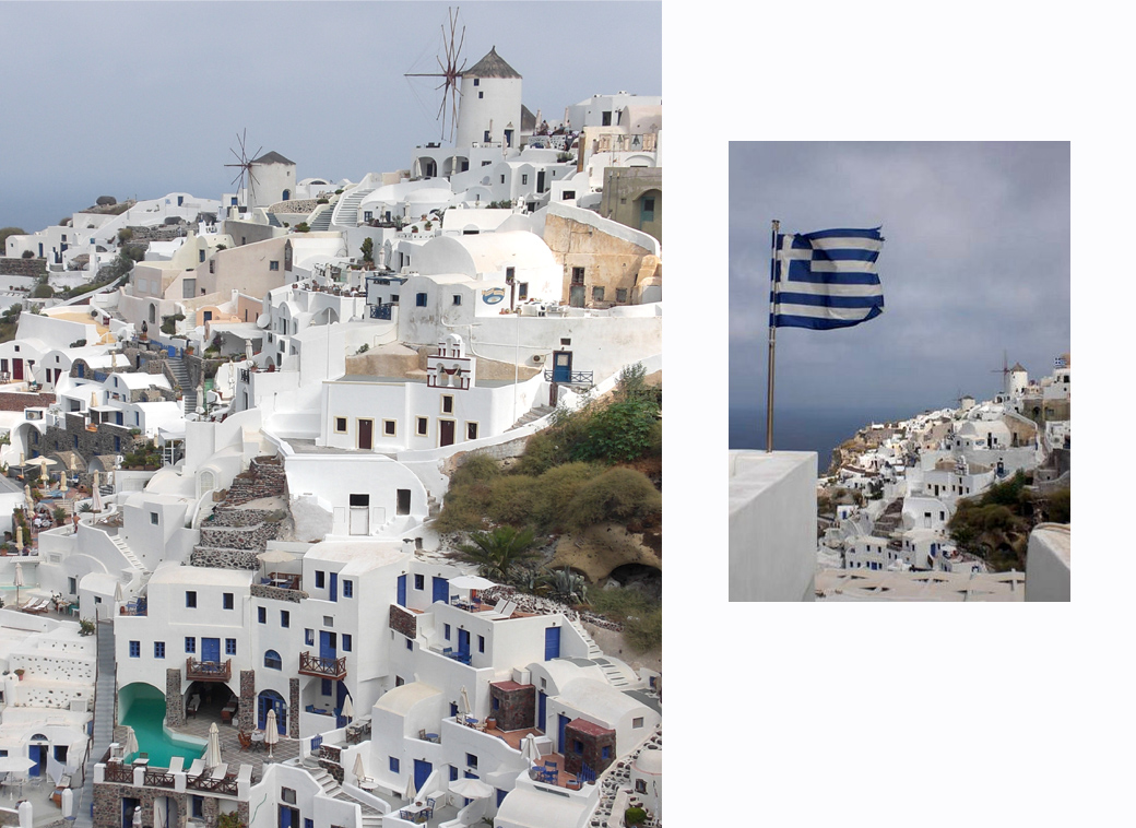 Santorini Greece an over view of Oia with windmills with Seen by Solomon travel blog