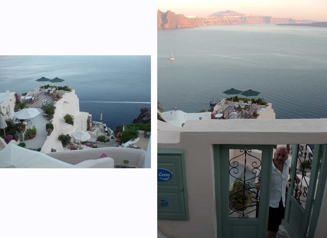 Aris Caves in Santorini Greece Oia entrance doorway and view of the Caldera with Seen by Solomon travel blog