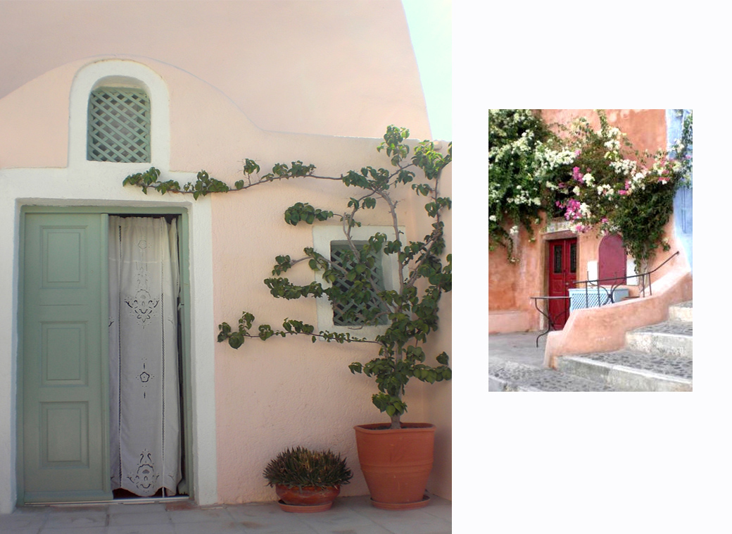 our cave suite doorway of Aris Caves Oia in Santorini Greece with flower with Seen by Solomon travel blog
