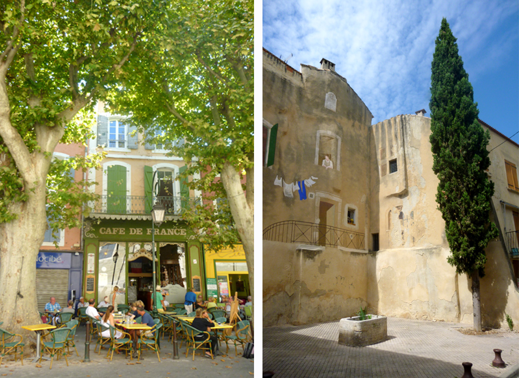L'isle Sur la Sorgue in Provence France, cafes, tree lined streets, courtyards with Seen by Solomon travel blog